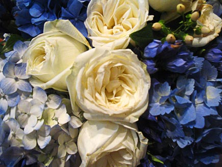 blue and white bouquets to art