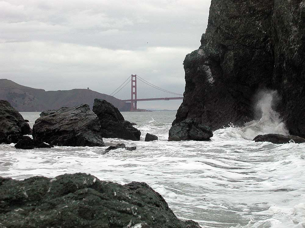 Golden Gate Bridge with waves.