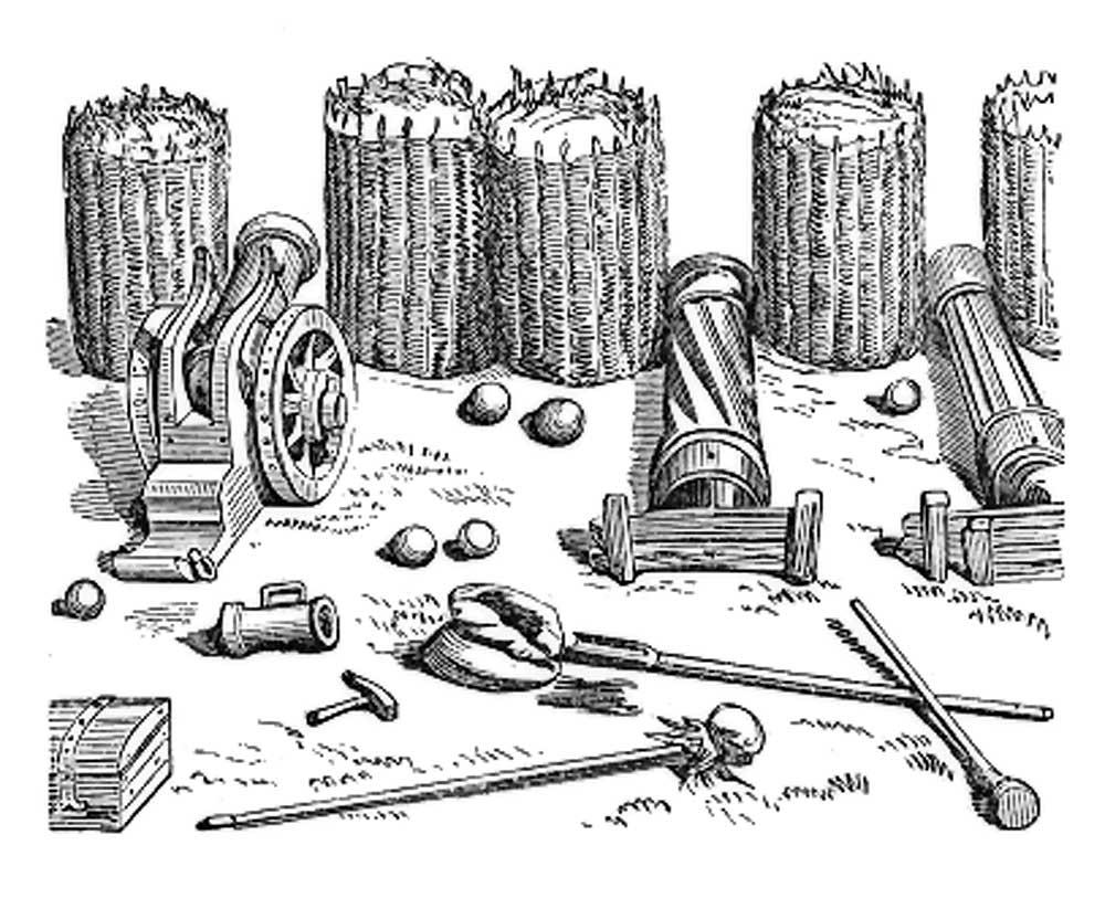 Portable gabions in military application, from Dictionnaire raisonné de l'architecture française du XIe au XVIe siècle, by Eugène Viollet-Le-Duc, 1856.