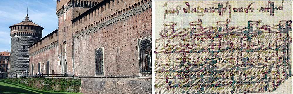 Left: current structure of the Castello Sforzesco in Milan. Right: Leonardo DaVinci's plan for a gabion foundation for the building.
