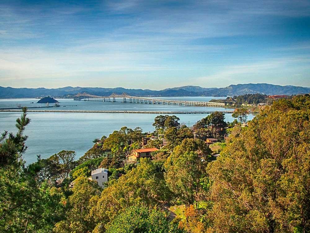 Richmond-San Rafael Bridge and Red Rock Island.