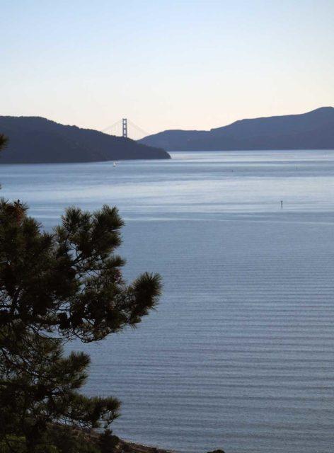 Golden Gate Bridge behind Angel Island, seen from Miller/Knox Park.