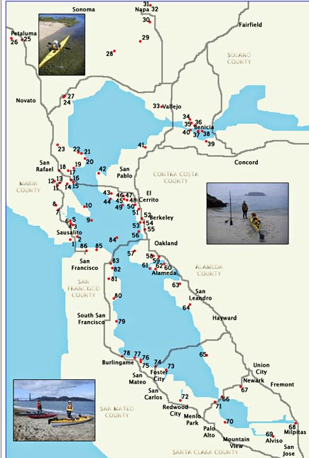 map of bay area canoe and kayak put-ins