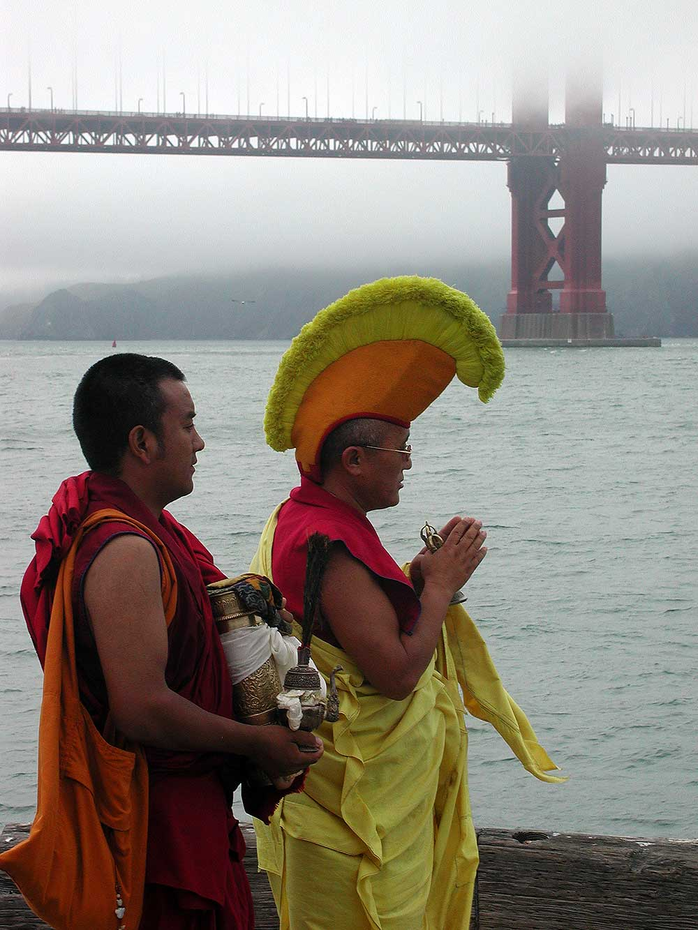 Buddhist monks perform a ritual at the Golden Gate Bridge
